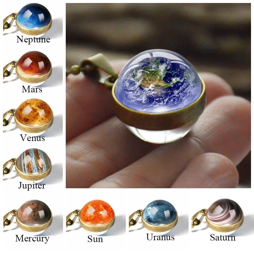 New Personality Fashion Double Side Glass Ball Necklace Earth Planet - Alilight.net