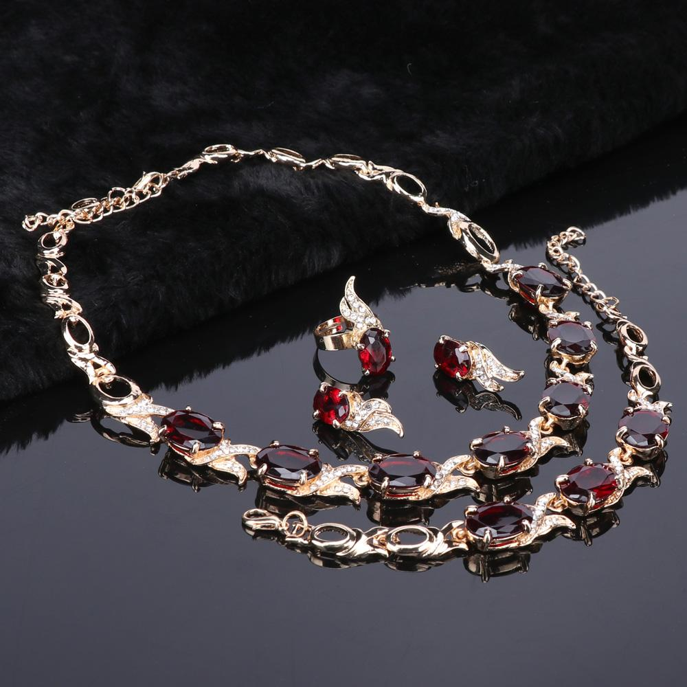 Wedding Gold Color Red Crystal Trendy Necklace Jewelry Sets - Alilight.net