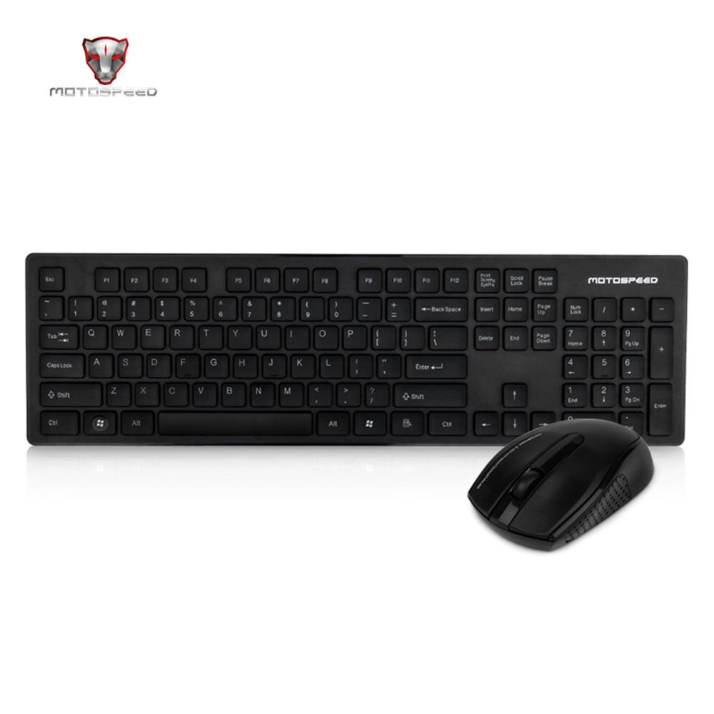 Wireless Keyboard & Mouse Combo USB 2.0 1000DPI Mouse Ergonomics 104 Keys 10 meters - Alilight.net