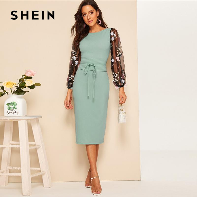 SHEIN 3D Appliques Mesh Sleeve Corset Belted Pencil Dress 2019 - Alilight.net