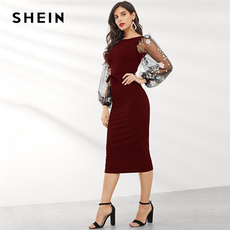 SHEIN Black Applique Embroidered Mesh Sleeve Pencil Dress - Alilight.net