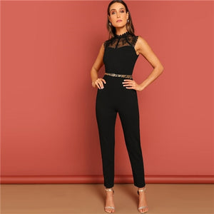 Black Constract Lace Bodice Open Back Halter Skinny Mid Waist - Alilight.net