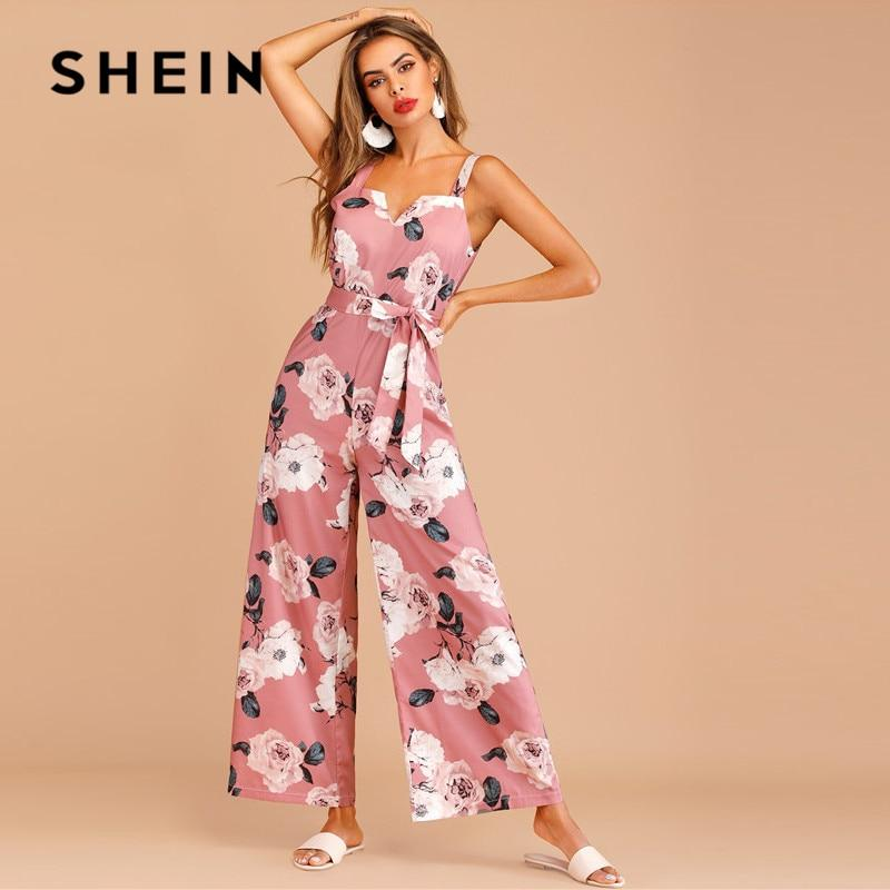 Women Sleeveless Loose High Waist Wide Leg Jumpsuit Ladies Pink - Alilight.net