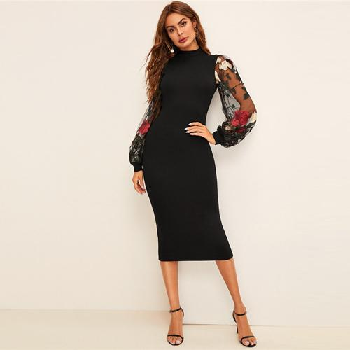SHEIN Flower Embroidered Mesh Sleeve Bodycon Dress Women Spring - Alilight.net