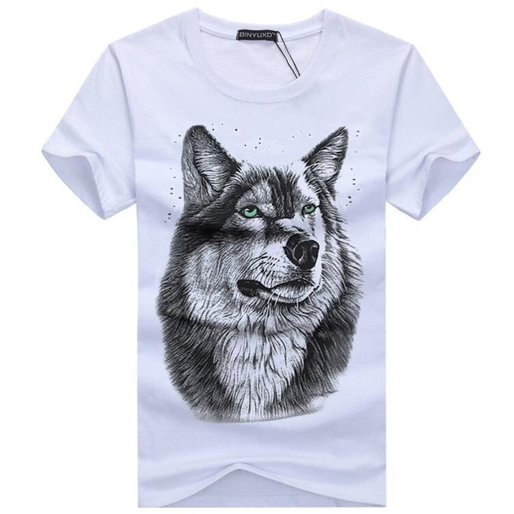 T-Shirt White T shirt Casual Cotton Wolf Print - Alilight.net