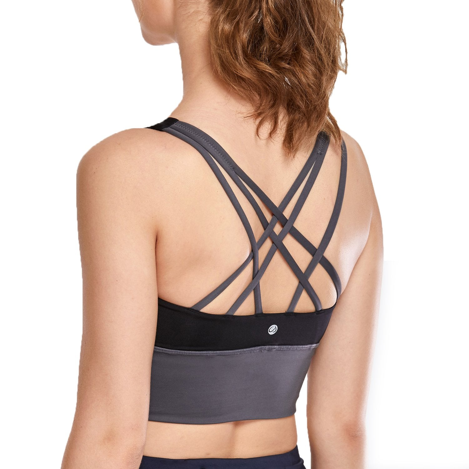 SYROKAN Women's Medium Support Strappy Back Wirefree Removable Cups Longline Yoga Sports Bra - Alilight.net