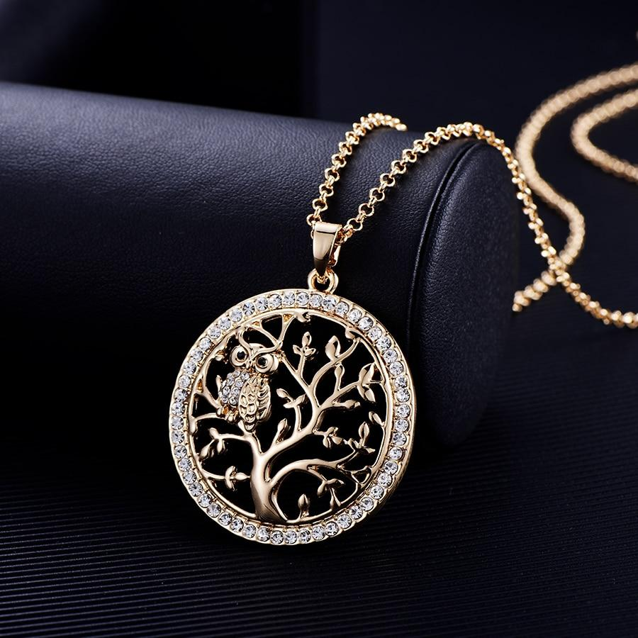 Small Owl Necklace Tree Of Life Pendant Rose Gold Women Sweater Chain - Alilight.net