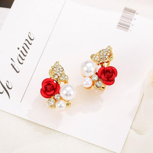 1 Pair Red Rose Flower Earrings Imitation Jewelry - Alilight.net