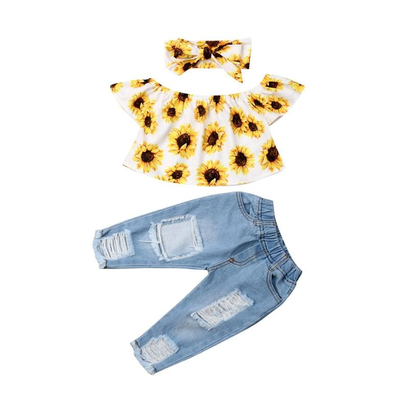 Kids Summer 3PCS  Sunflower Outfits Clothes - Alilight.net