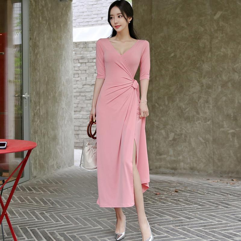 Summer Half Sleeve Pink Maxi Long Women Cloth Sashes Casual Ankle-Length V-Neck Dress - Alilight.net