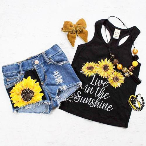 Sunflower Toddler Baby Girl set Clothes sleeveless letter - Alilight.net