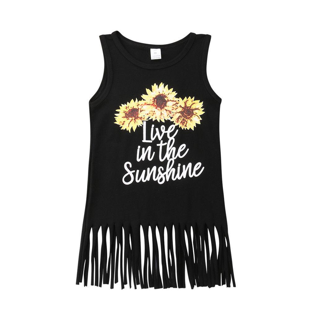 Sunflower Toddler Kids Baby Girl Summer Dress Sleeveless - Alilight.net