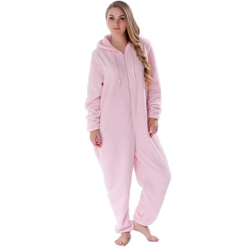 Women Onesies Fluffy Fleece Jumpsuits Sleepwear Winter Warm Pyjamas - Alilight.net
