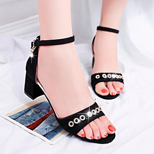 Women Fashion Solid Round Toe Crystal Wedges Hasp Basic Footwear - Alilight.net