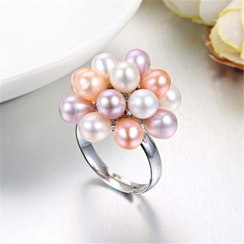 Natural Freshwater Drop Pearl Ring Jewelry 4-5mm Flower - Alilight.net