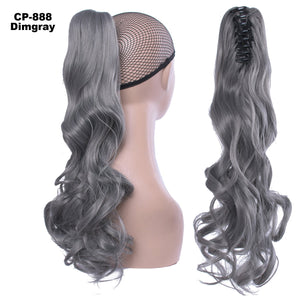 Silk claw clip curly hair pony tail big wave tiger claw roll pony tail - Alilight.net