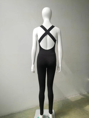 Deep-v-lining back cut low Bodysuit Yoga Gym moving workout exercise - Alilight.net