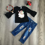 Unisex casual Girls jeans outfits santa claus tee leopard top jeans pants - Alilight.net
