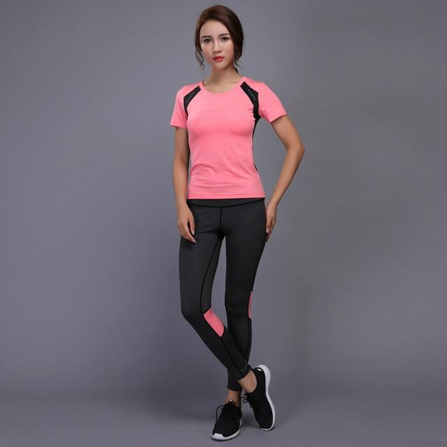 Yoga Set exercise dress for young women gym TShirt + Pants bearable Gym - Alilight.net