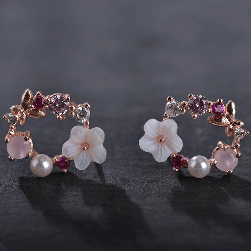 flower earrings pink white crystal pearl rhinestone butterfly cute kpop korean - Alilight.net