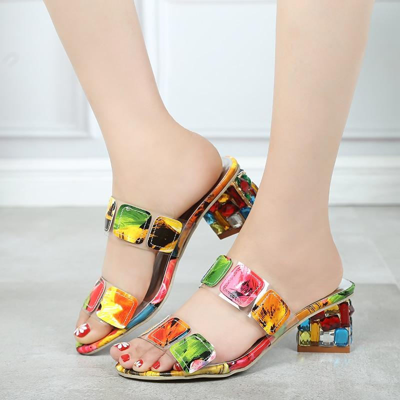 Women Multi Colors Sandals Fashion High Heels Open Toe Beach Flip Flops - Alilight.net