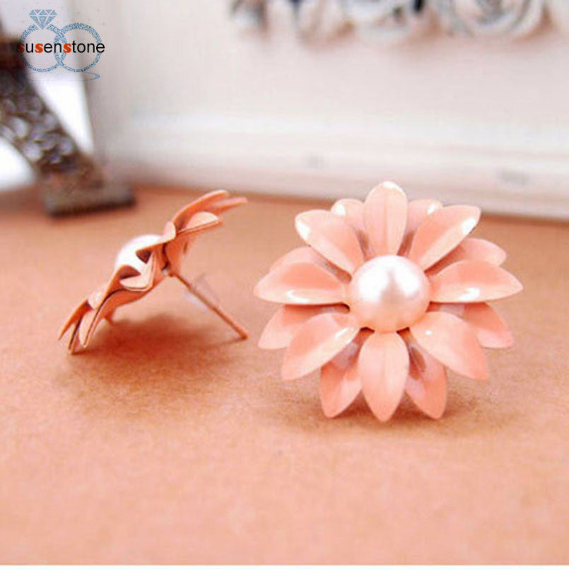 SUSENSTONE Women Lovely Studs Earrings Daisy Flower Pearl Earrings - Alilight.net