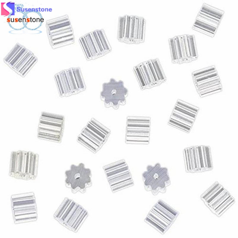 SUSENSTONE 100 Piece Clear Clutch Earring Safety Backs For Fish Hook Earrings - Alilight.net