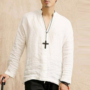 Men Top Tees Long Sleeve Cotton Linen Top - Alilight.net