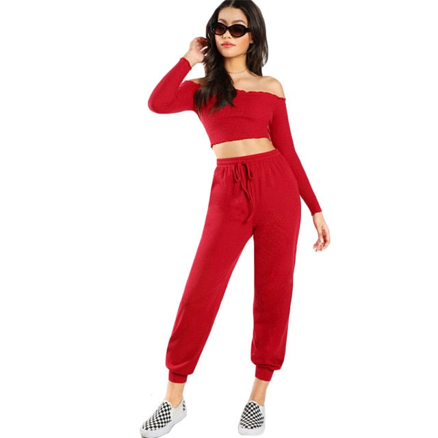 Red Two Piece Set Casual Womens Clothing Off the Shoulder Long Sleeve - Alilight.net