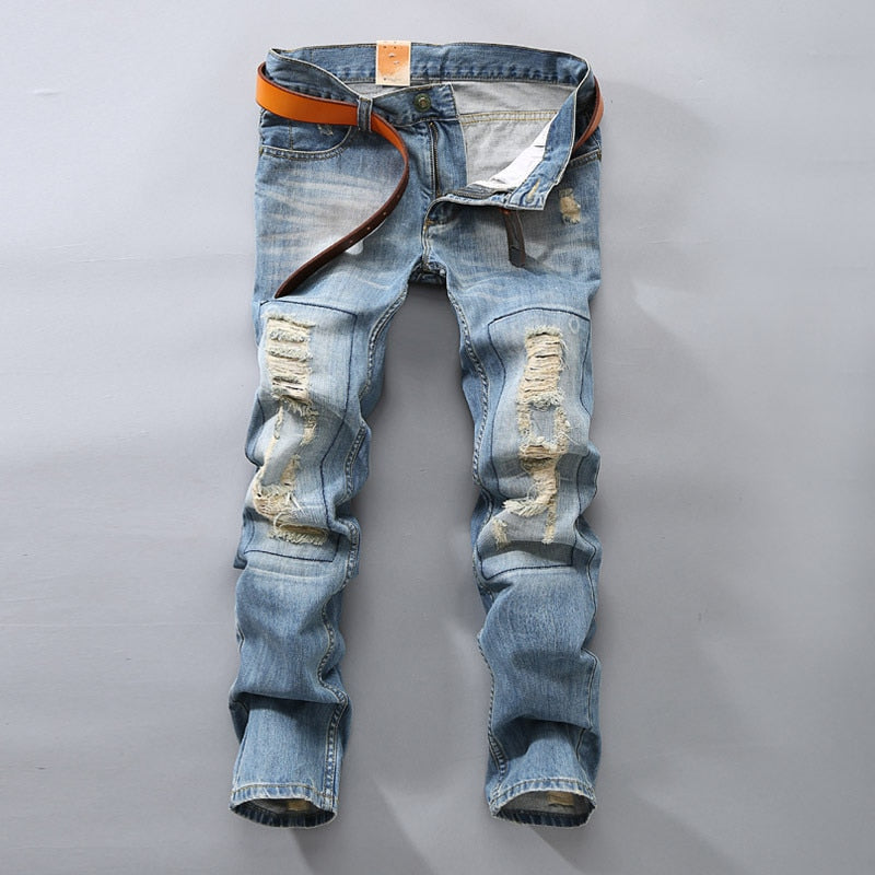 Men Denim Stretch Hole Jeans Slim Casual - Alilight.net