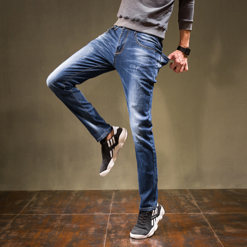 Men Denim Solid Pocket Cotton Jeans - Alilight.net