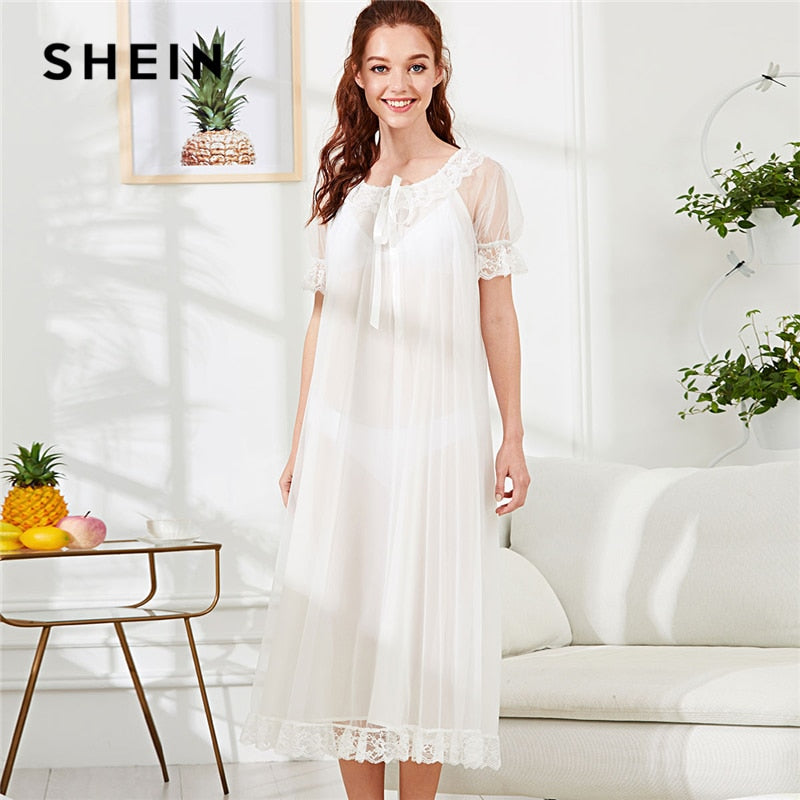 Knot Front Lace Trim Semi Sheer Nightdress White Scoop Neck - Alilight.net