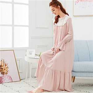 Square Collar Embroidery Mesh Yoke Flounce Trim Nightwear - Alilight.net