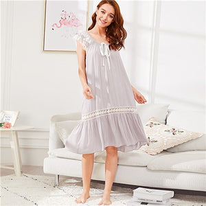 Knot, Sheer, Contrast Lace, Ribbon, Backless Knot Nightgowns - Alilight.net