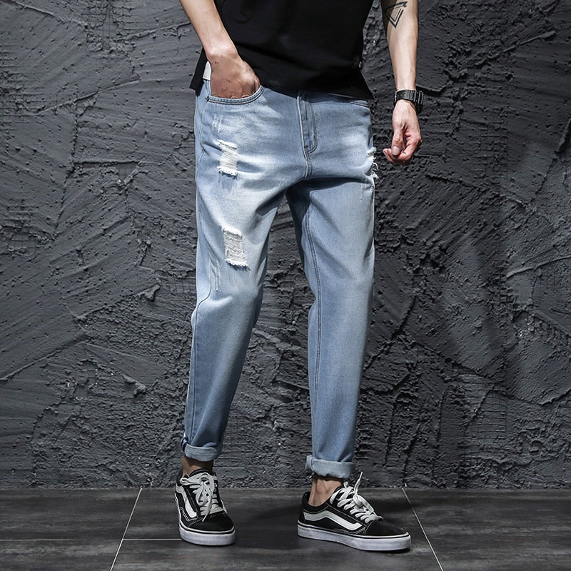 Men Denim Jeans Pencil Pants - Alilight.net