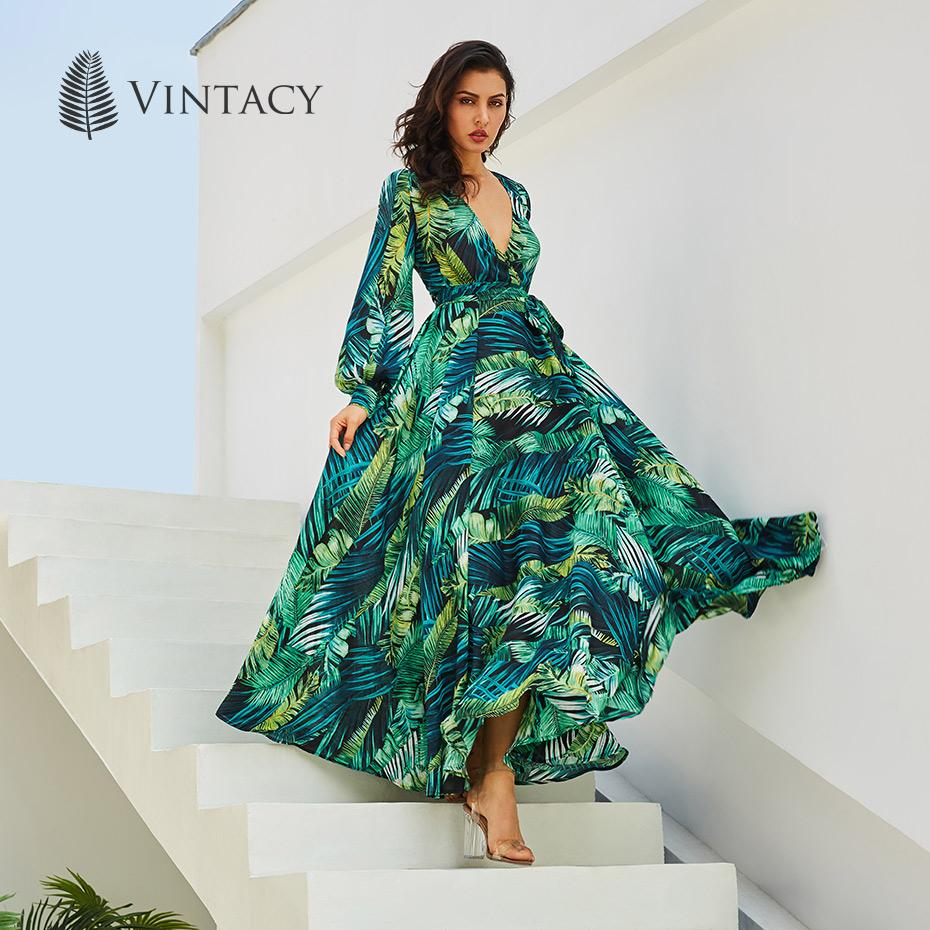 Vintacy Long Sleeve Dress Green Tropical Beach Vintage Maxi - Alilight.net