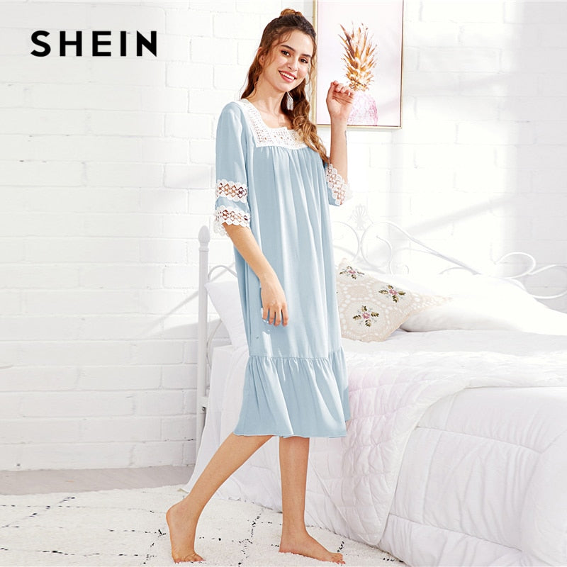 Women's Casual Lovely Sleepwears Nightgowns Square Collar Blue - Alilight.net