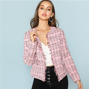 SHEIN Multicolor Elegant Office Lady Frayed Edge Plaid Tweed Blazer - Alilight.net