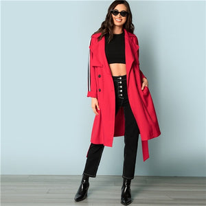 SHEIN Red Elegant Highstreet Flap Front Belted Trench Long Double Breasted Coat - Alilight.net