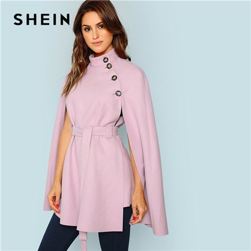 SHEIN Vintage Workwear Office Lady 2018 Women Outwear Streetwear Purple Button - Alilight.net