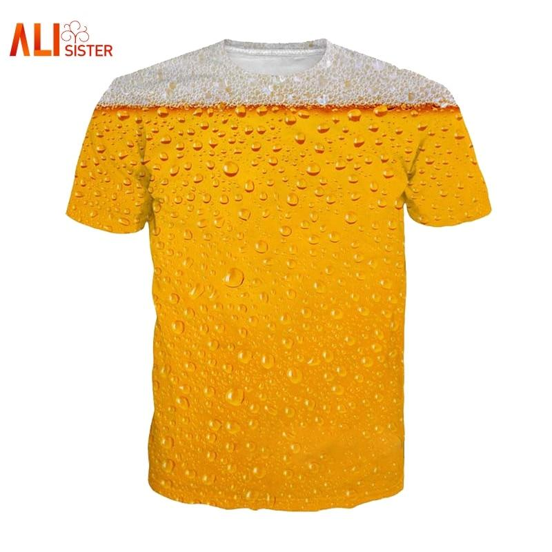 Alisister Beer Print T Shirt It's Time Letter Top Tee - Alilight.net