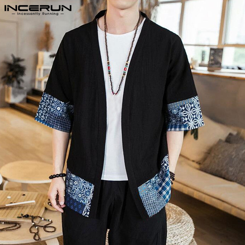 Men's Coat Cardigan Half Sleeve Open Stitch Outwear - Alilight.net