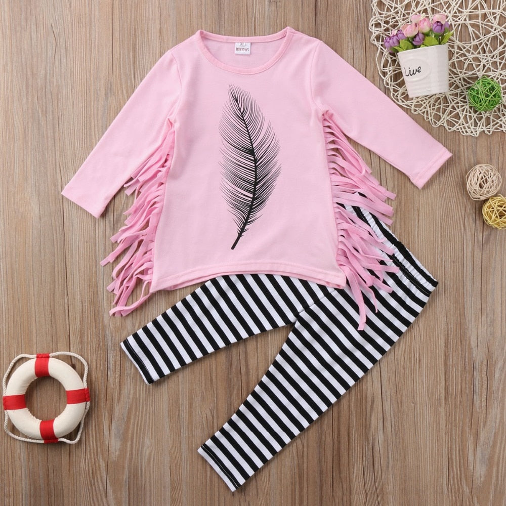 Tassel Girl Top T-Shirts Long Sleeve Striped Pants Kids Baby Girls Clothes - Alilight.net