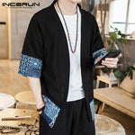INCERUN Brand Japan Style Cardigan Men's Coat Half Sleeve Open Stitch - Alilight.net