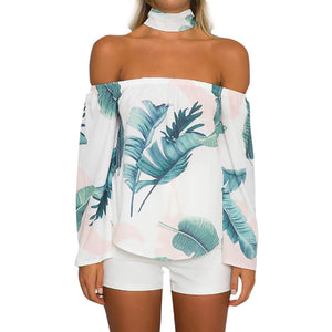 Women Casual Autumn Long Sleeve Off Shoulder Print Leaf Tops Blouse - Alilight.net