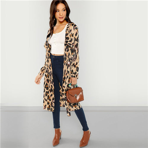 SHEIN Apricot Workwear Elegant Open Front Shawl Collar Leopard Print Fashion - Alilight.net