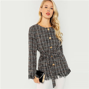 SHEIN Black Elegant Highstreet Single Breasted Hem Button Belted Tweed Blazer Coat - Alilight.net