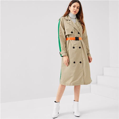 SHEIN Multicolor Office Lady Highstreet Colorblock Pocket Double Breasted Trench Coat - Alilight.net