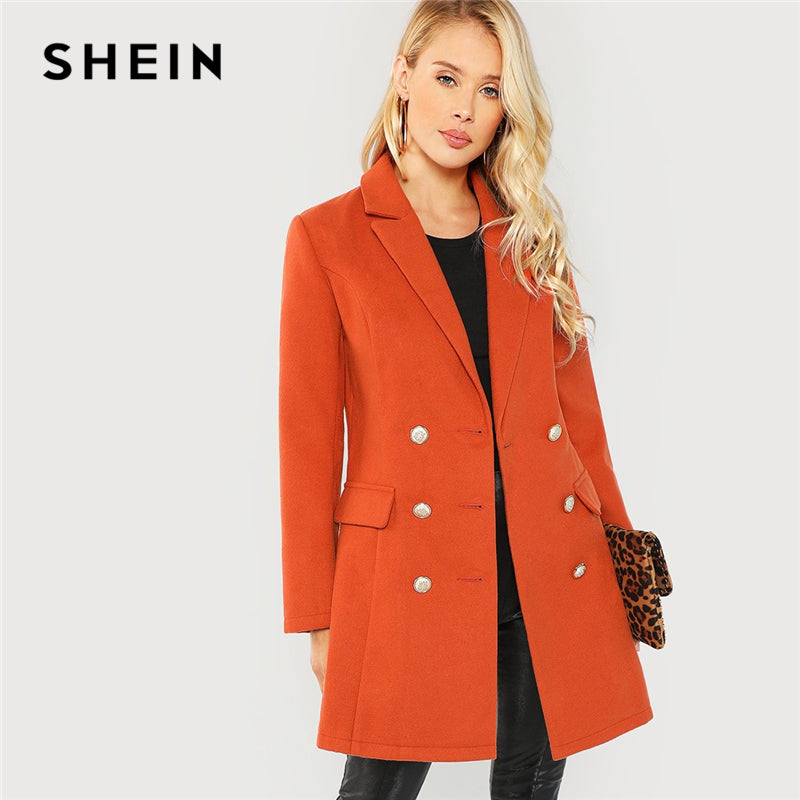SHEIN Brown Office Lady Elegant Double Breasted Notched Neck Fashion Solid Coat - Alilight.net