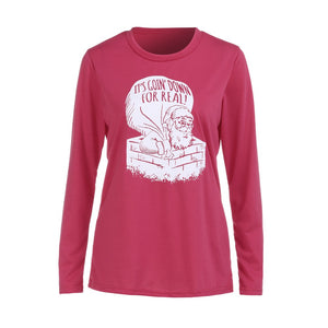 Womens Christmas Long Sleeve Letter Sweatshirt Printed Pullover Tops Blouse - Alilight.net